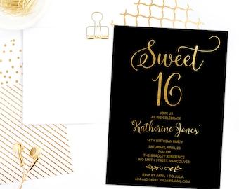Sweet 16 Invitation Printable, Sweet Sixteen Invitation, 16th Girls Birthday Invitation, Faux Gold Foil Sweet 16 Birthday Invite