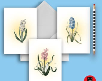 Blank Note Cards, Flower Water Colors, Greeting Card Collection Hyacinth Flowers Blank Note Card Set of 3 Stationery Set