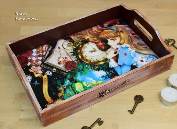 wooden tray alice in wonderland home decor kitchen decor