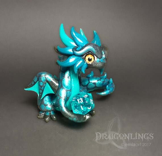 Polymer Clay Dragon Dice Holder Dragon- Charcoal, Teal Pearl, and Peacock Pearl Dragonling: Titus