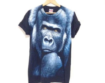 90's king kong graphic tees. Faded black cotton t-shirt. Made in USA