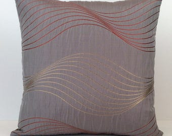 Purplish Gray Pillow, Decorative Throw Pillow Cover, Cushion Cover, Accent Pillow, Satin Blend Pillow, Tan and Dark Peach Silk Embroidery.