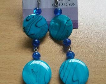 Blue earrings, blue beads, blue pendant, blue jewelry, long earrings