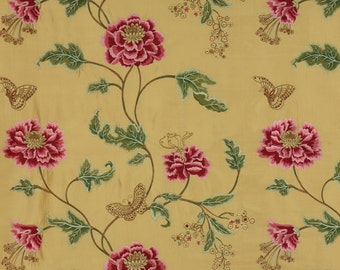 COLEFAX & FOWLER ORIENTAL Poppy Embroidered Floral Silk Stripes Fabric 10 Yards Gold Shabby Pink Green