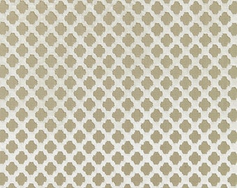 SCALAMANDRE POMFRET GEOMETRIC Cut Velvet Fabric 10 Yards Alabaster Beige Cream
