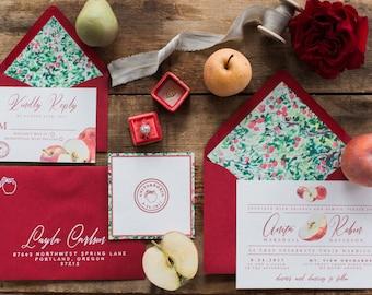 Wedding invitation, Apple harvest wedding invitation; red, custom, northwest, unique wedding, PDF,