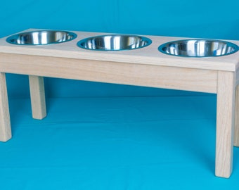 Triple Elevated Dog Feeder, Three Stainless Steel 2 Quart Bowls