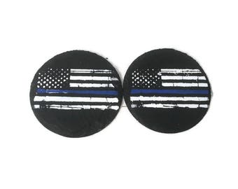 Police Officer Coasters, Coaster Set, Law Enforcement Home Decor, Thin Blue Line Coasters, Set of Two.