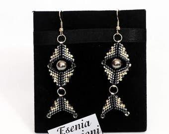 earrings with swarovski pearls, STATEMENT BEADED EARINGS