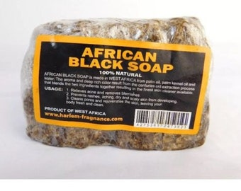 1LB 100% Natural Raw African Black Soap, Organic, Unrefined