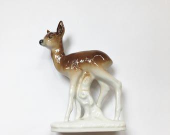 Vintage Fawn Deer Figurine Statute Woodland Decor Ceramic Bambi