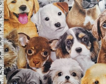 Dog Faces Quilting Fabric - Fat Quarter or Yardage