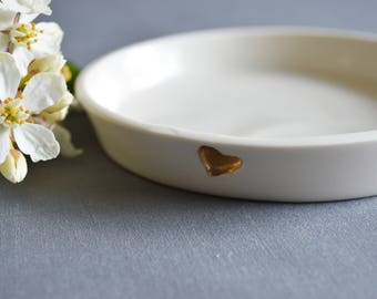 Seconds - Small Ceramic Dish Gold Heart - Matte Finish, Love, Ceramic, Mothers Day, ( Handmade, Porcelain, Mothers Day, Jewellery Dish,Love)