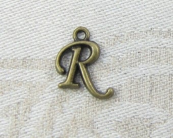 "Bronze Script Letter ""R"" Charms 1 or 5 letters per package  ALF018r-BZ"