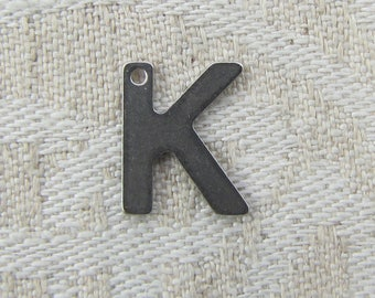 "Stainless Steel Letter ""K"" Charm, 1 or 5 letters per package  ALF007k"
