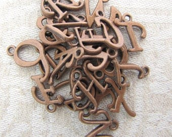 Copper Script Mix n' Match ANY 5 LETTERS 5 charms per package  ALF018-5CU