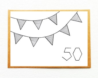 50th birthday card, 50th anniversary card, 50th birthday invitation, birthday invite, happy birthday, party invitation, modern party invite