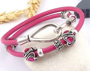 Kit diy tutorial fuchsia leather bracelet antique and silver beads