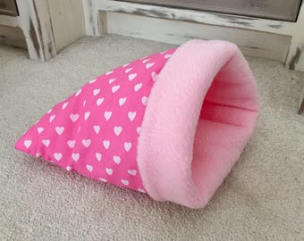 Guinea Pig Warm Cosy Fleece Snuggle Pouch Cuddle Cup Hedgehog Sugar Glider Rat Cozies Sack Pink Hearts