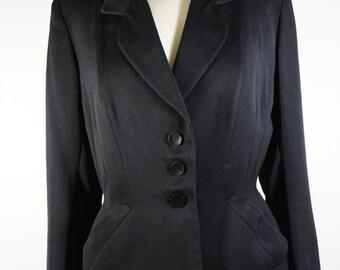 1940s black gabardine jacket