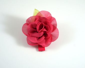 Hot Pink Rose Clip. Chiffon Flower Clip. Flower Hair Clip. Easter Bow. Toddler Barrette. Baby Barrette. Flower Barrette. Pink Hair Clip