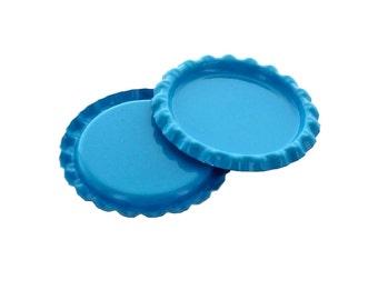 100 Caps - Flattened Turquoise Bottle Caps
