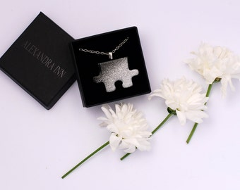 Black puzzle necklace, stainless steel necklace, wood necklace, black necklace, silver necklace- short necklace
