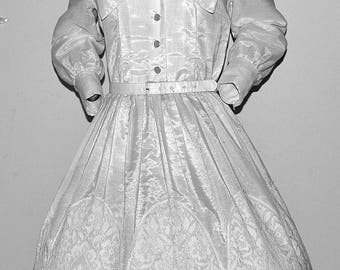 1950's Day Party Dress. Crochet insert skirting Tuck waist belted Beautiful by Carol Brent Medium M