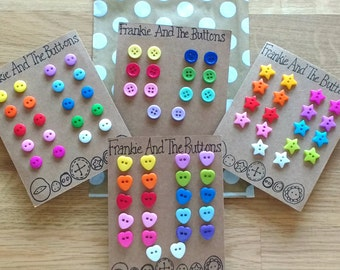 Gift for backpacker, bright and fun rainbow coloured button studs, durable plastic post earrings, unique practical travel jewelry present