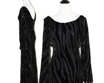 STUNNING Backless Velvet Burnout Bell Sleeve Gown