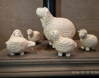 Unique, ceramic Clay sculpture, Title: Flock of six sheep