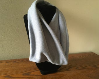 Upcycled cashmere infinity scarf. #29 Light blue cashmere infinity cowl.
