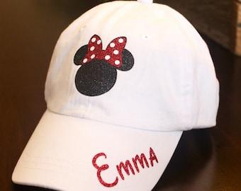 Kids Disney Hat, Youth Disney Hat, Girls Minnie Hat, Minnie Hat, Toddler Minnie hat, Toddler Disney Hat, Kids Minnie Hat,