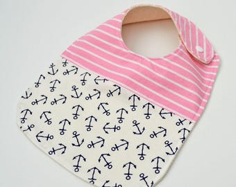 Baby Bib, Nautical Baby Bib, Pink Baby Bib, Pink Drool Bib, Baby Girl Pink Bib, Nautical Baby Shower Gift // 'Anchors Away'