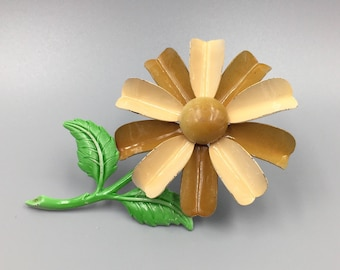 Large Brown & Tan Enamel Flower Brooch - Vintage 1960s Green Stem Leaves