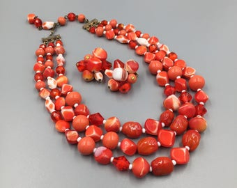 Hattie Carnegie Triple Strand Necklace Earrings Demi Parure Coral Red & White - Vintage 1950s Signed Carnegie Jewelry Set