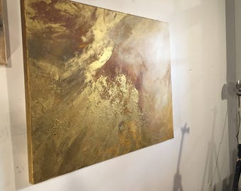 """Large Gold and White Abstract Painting - 30x40 """"Underneath the Sunset"""""""