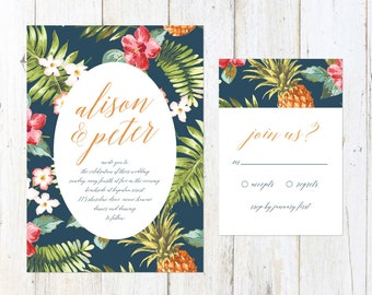 Tropical Wedding Invitation, Hawaiian Invitation, Beach Wedding