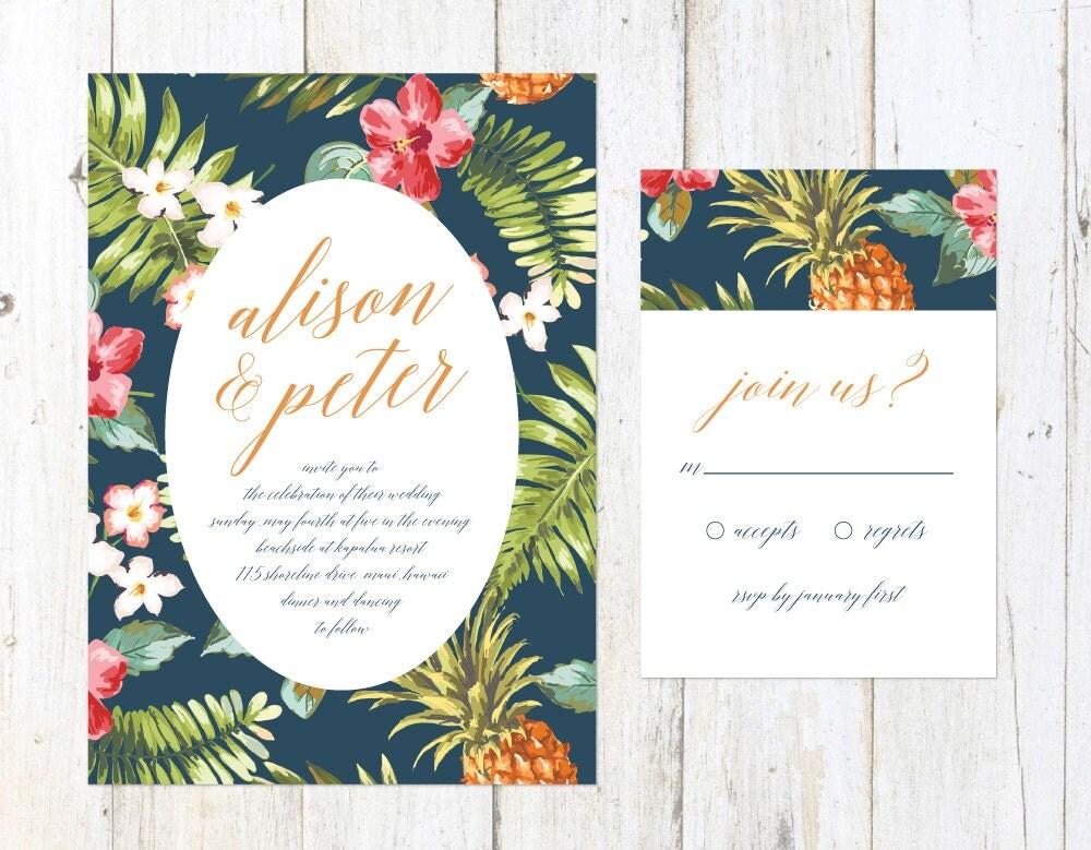 Tropical Wedding Invitations: Tropical Wedding Invitation Hawaiian Invitation Beach