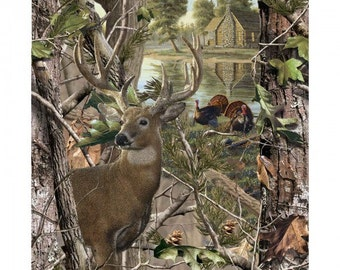 Deer & Turkey Panel - Real Tree Nature Camo- by Sykel, Inc. - 100% Cotton High Quality Fabric