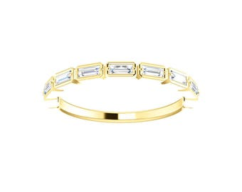 Stackable Baguette Diamonds Ring  ~ 14K Solid Gold ~ Emerald Step Cut ~ Half Eternity Ring
