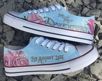 Wedding bridal brides converse hand painted personalised customised sneakers