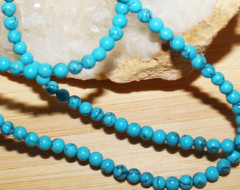 "16"" Strand of 3mm Smooth Round Howlite ***Dyed Turquoise Color #77,78 and 79"