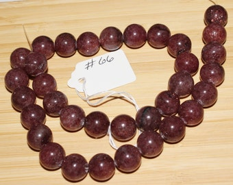 "16"" Strand of 12mm Smooth Round Plum Jade Beads #66"