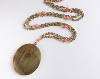 Vintage Oval Locket with Coral Accented Chain