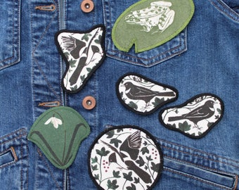 Patches- Patch- Iron on Patch - Magpie- Bird- Frog- Lilly pad- Snowdrop- Floral- Green- Charlotte Mudd- Charlotte Mudd Illustration- Mudd
