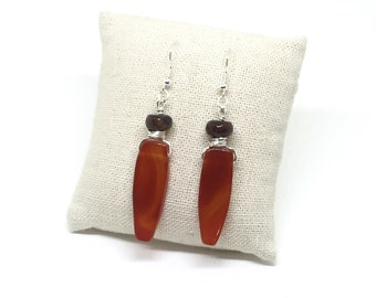 Carnelian and Agate Earrings