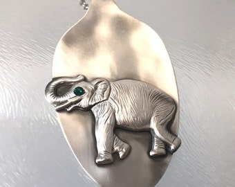 Elephant pendant. Spoon jewelry. Elephant jewelry. Elephant necklace. Silverware jewelry. Spoon necklace. Spoon  jewelry, Spoon pendant