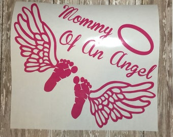 Memorial Car Decal| Mommy of an Angel| Window Decal| Angel Baby Decal|Vinyl Sticker -Decal| Daddy-Grandma-Grandpa-Nana Decal