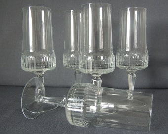 5pcs wine glasses / champagne glasses * 60s / 70s blown * hand sanded